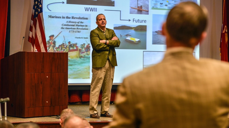 Lt. Gen. Michael G. Dana, Deputy Commandant, Installations and Logistics, speaks to participants at the Marine Corps Warfighting Lab's Force Development 25 Innovation Symposium at Marine Corps Base Quantico, Virginia, Feb. 23, 2016. Speakers at the event taught participants how to shape the future force.