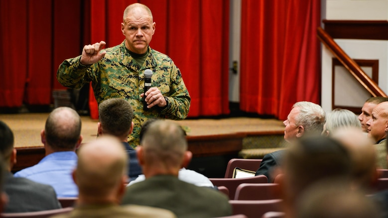 Gen. Robert Neller, the 37th Commandant of the Marine Corps, speaks to participants at the Marine Corps Warfighting Lab's Force Development 25 Innovation Symposium at Marine Corps Base Quantico, Virginia, Feb. 23, 2016. Speakers at the symposium discussed future warfare capabilities and ideas.