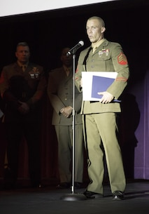 Sgt. Justin P. Mears, Marine Corps Exchange Noncommissioned Officer, thanks the Barstow Area Chamber of Commerce, City of Barstow, and his leadership at MLB Barstow for recognizing him as the Marine of the Year for Fiscal Year 2015, Feb. 27, during the 35th Annual City of Barstow Awards Banquet.  During FY'15 the 29-year-old native of Wilmington, Del, captured NCO of the Quarter three times, became a Marine Corps Martial Arts Instructor, competed in and won the High Intensity Tactical Training  competition on MCB Barstow, and finish fourth overall in the Corps-wide competition held at Marine Corps Air Ground Combat Center, Twentynine Palms, Calif.