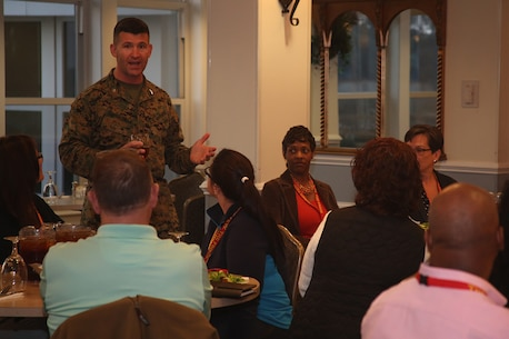 Col. Jeffery Smitherman, commanding officer of the 6th Marine Corps District, speaks with the educators from Recruiting Stations Atlanta and Columbia before dinner at Traditions aboard Marine Corps Recruit Depot Parris Island, S.C., Mar. 1, 2016. The three-day workshop will give educators a chance to experience the day to day routines aboard the depot and Marine Corps Air Station Beaufort. The purpose of the workshop is to give educators a better understanding of the Marine Corps and reinforce the idea of the Marine Corps as a viable career option. (U.S. Marine Corps photo by Cpl. John-Paul Imbody)