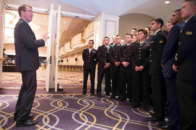 Defense Secretary Ash Carter speaks with ROTC cadets and midshipmen in San Francisco, March 1, 2016. Carter delivered a speech at the Commonwealth Club, the nation's oldest public affairs forum, as part of a trip to California and Washington state to discuss technology, cybersecurity initiatives and other topics with tech leaders. DoD photo by Navy Petty Officer 1st Class Tim D. Godbee