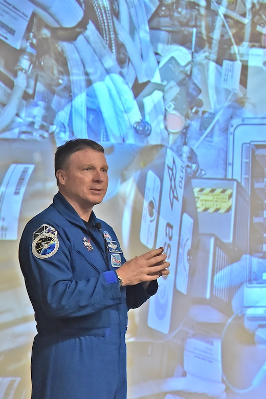 Astronaut and Air Force Col Terry Virts shares his experience as a NASA astronaut and commander of the International Space Station (ISS) with Peterson Air Force Base personnel and families Feb. 24.
