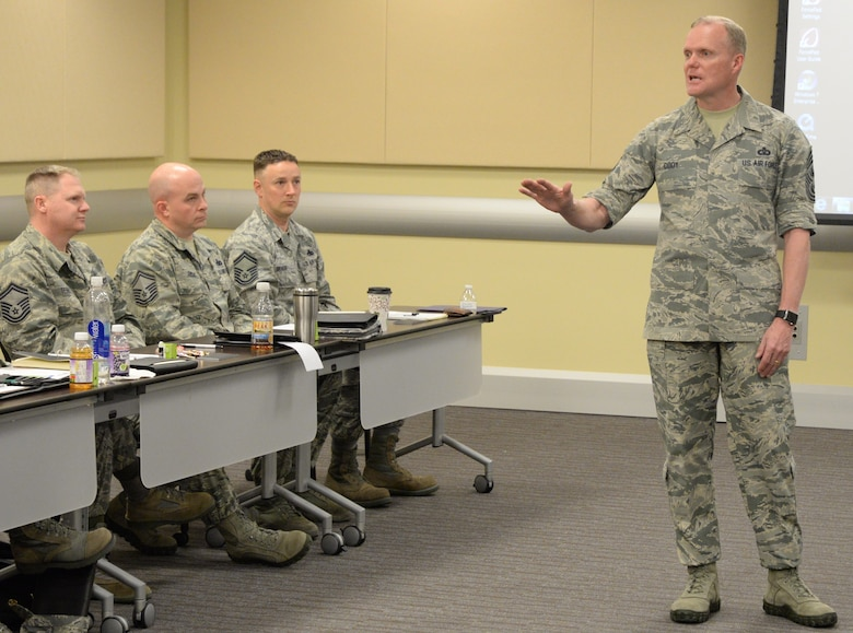Chief Master Sergeant of the Air Force James Cody speaks to the newest chief master sergeants from the National Capital Region during the Air Force District of Washington's Chief Orientation Course at Joint Base Andrews, Md., Feb. 29, 2016. Cody was one of many key Air Force leaders who will address the group this week in order to equip the participants for their new leadership role. (U.S. Air Force photo/1 Lt. Esther Willett)