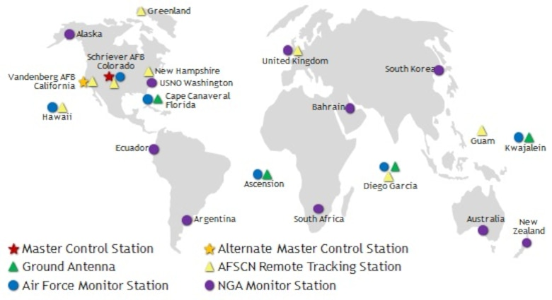 Current locations of GPS network of monitor stations that track navigation signals from GPS satellites and gather data on satellite performance worldwide. (Courtesy graphic)