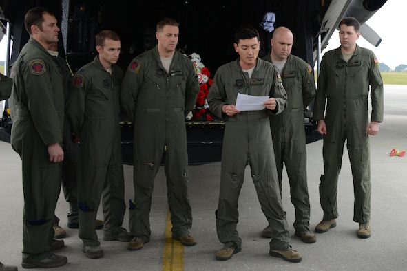 Capt. Scott Welshinger, 1st Special Operations Squadron, speaks about the purpose of the Stray 59 memorial flight before leaving Kadena Air Base, Japan on Feb. 26, 2016. Stray 59 was a 1st SOS MC-130E Combat Talon I special operations aircraft that went down in 1981 over Subic Bay, Philippines, during a training mission. The memorial flight to the Philippines has been flown by the 1st SOS every year since the crash 35 years ago. (U.S. Air Force photo by Master Sgt. Kristine Dreyer, 353rd SOG PA/Released)