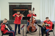 On Feb. 28, a jazz ensemble performed prior to the Marine Band performance. (U.S. Marine Corps photo by Staff Sgt. Rachel Ghadiali/released)