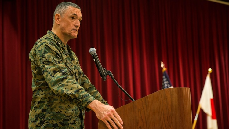 U.S. Marine Corps Brig. Gen. David Coffman, deputy commanding general, I Marine Expeditionary Force, addresses Marines and Japan Ground Self Defense Force soldiers during the concluding ceremony of Exercise Iron Fist 2016 at Marine Corps Base Camp Pendleton, California, March 1, 2016. Training that took place during Exercise Iron Fist 2016, an annual, bilateral amphibious training exercise held between the USMC and JGSDF, focused on advanced marksmanship, amphibious reconnaissance, fire and maneuver assaults, staff planning and amphibious landing operations.