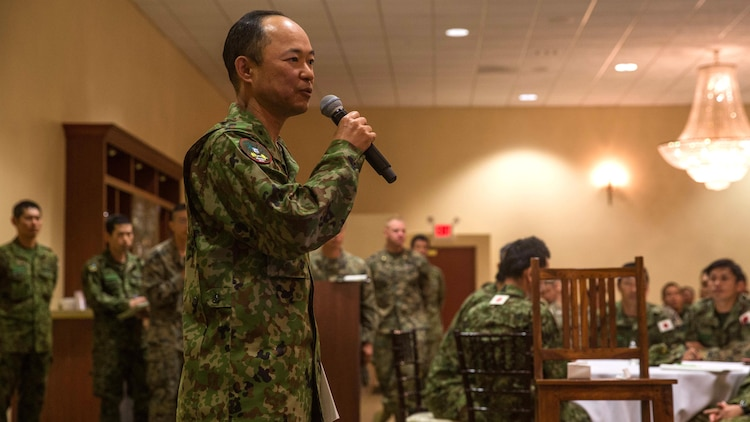 Maj. Gen. Shinichi Aoki, deputy chief of staff (operations), Western Army, Japan Ground Self Defense Force, addresses U.S. Marines and JGSDF soldiers at Marine Corps Base Camp Pendleton, California, March 1, 2016, prior to the closing ceremony of Exercise Iron Fist 2016. Exercise Iron Fist is an annual bilateral exercise designed to provide valuable training to warriors from different cultures, and build camaraderie and operational capabilities between Marines and Japanese soldiers.