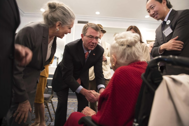 Defense Secretary Ash Carter greets members of the Commonwealth Club of California in San Francisco, March 1, 2016. DoD photo by Navy Petty Officer 1st Class Tim D. Godbee
