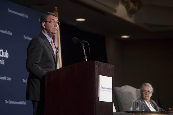 Defense Secretary Ash Carter addresses the Commonwealth Club of California in San Francisco, March 1, 2016. DoD photo by Navy Petty Officer 1st Class Tim D. Godbee