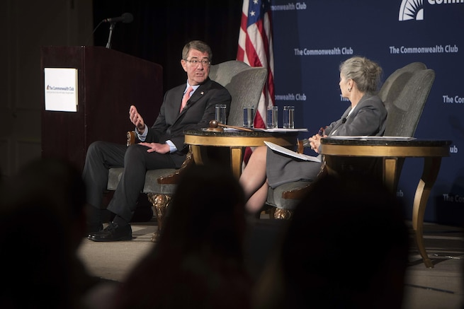 Defense Secretary Ash Carter participates in a discussion at the Commonwealth Club of California in San Francisco, March 1, 2016. DoD photo by Navy Petty Officer 1st Class Tim D. Godbee