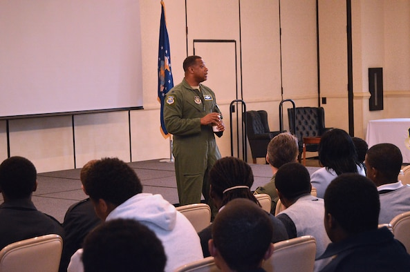 Guest speaker Lt. Col. Terry Troutman, Air Force Reserve Command Mobility Combat Support officer, speaks to students during the Joint Base Charleston Tuskegee Airmen Career Day Feb. 25, 2016. The 315th Airlift Wing's first Tuskegee Airmen Career Day drew  over 130 local teenage boys to Joint Base Charleston, S.C. to learn about careers in aviation. The event also celebrated the story of the first black pilots in the American military – the Tuskegee Airmen. (courtesy photo by Senior Master Sgt. Eric Keys)