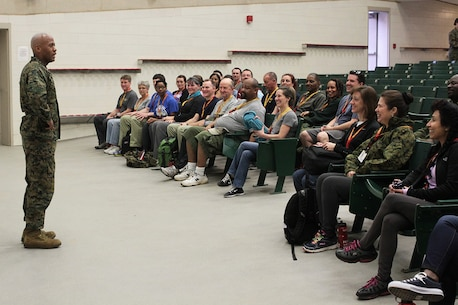 Brig. Gen. Terry V. Williams talks with educators about the opportunities the Marine Corps offers and how it may be a possible avenue for their students at Marine Corps Recruit Depot Parris Island, S.C, March 2, 2016. The three-day workshop will give the educators a chance to experience the day to day routines aboard the depot and Marine Corps Air Station Beaufort, with the main purpose of giving the educators a better understanding of the Marine Corps. Williams is the Commanding General of Marine Corps Recruit Depot Parris Island and Eastern Recruiting Region. (Official Marine Corps photo by Cpl. Diamond N. Peden/Released)