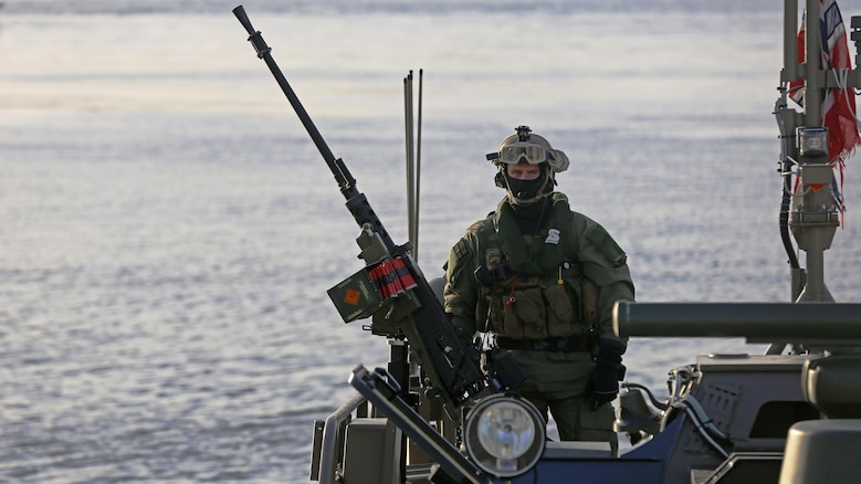 Norwegian Coastal Ranger Commandos approach shore in an SB90 combat boat in Namsos, Norway, March 1, 2016. The special operators transported distinguished visitors from shore to Norwegian Navy ships as part of Distinguished Visitors Day, officially kicking off Exercise Cold Response 16 throughout the country. Cold Response 16 brings together 13 NATO allies and partner nations in a 10-day cold weather exercise designed to enhance partnerships and collective crisis response capabilities.