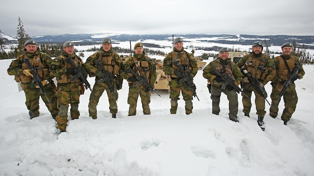 Members of the Norwegian Home Guard Quick Reaction Force stopped by a main battle tank live-fire range in Rena, Norway, Feb. 18, 2016. The U.S. Marines and Norwegians are preparing for Exercise Cold Response 16, which will bring together 12 NATO Allied and partner nations and approximately 16,000 troops in order to enhance joint crisis response capabilities in cold weather environments. The Norwegian Telemark Battalion instructs U.S. Marine amphibious assault vehicle personnel from 2nd Amphibious Assault Battalion on techniques of driving tracked vehicles in winter conditions on an ice track in Rena, Norway, Feb. 15. In the weeks leading up to exercise Cold Response 16, at the end of the month, the two nations will conduct bilateral training to improve U.S. Marine Corps capability to operate in cold-weather environments.