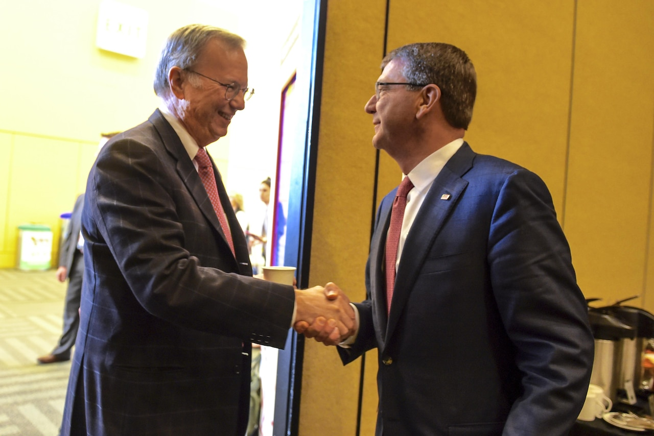 Defense Secretary Ash Carter meets with Eric Schmidt, executive chairman of Google parent company Alphabet and new chairman of the first DoD Innovation Advisory Board, during the RSA Security Conference in San Francisco, March 2, 2016. DoD photo by Navy Petty Officer 1st Class Tim D. Godbee