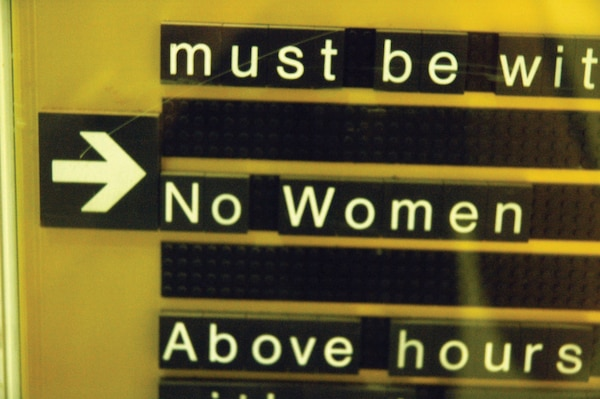 A sign in Jeddah, Saudi Arabia stipulates that women are not allowed to enter a hotel gym.