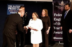Ingrid Howard, a geotechnical engineer with the U.S. Army Corps of Engineers, Middle East District, was recognized in the National Society of Professional Engineers' 2016 Federal Engineer of the Year Award Ceremony at the National Press Club in Washington Feb. 26.
