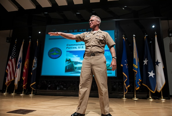 Vice Adm. Thomas Rowden, Commander, Naval Surface Forces U.S. Pacific Fleet, visited Defense Supply Center Columbus March 2 to discuss the current landscape of the Navy and align the two organizations in support of the warfighter.
