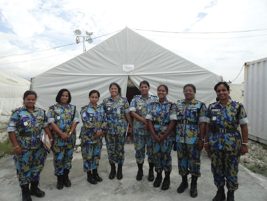 An all-female Formed Police Unit from Bangladesh, serving with the UN Stabilization Mission in Haiti.