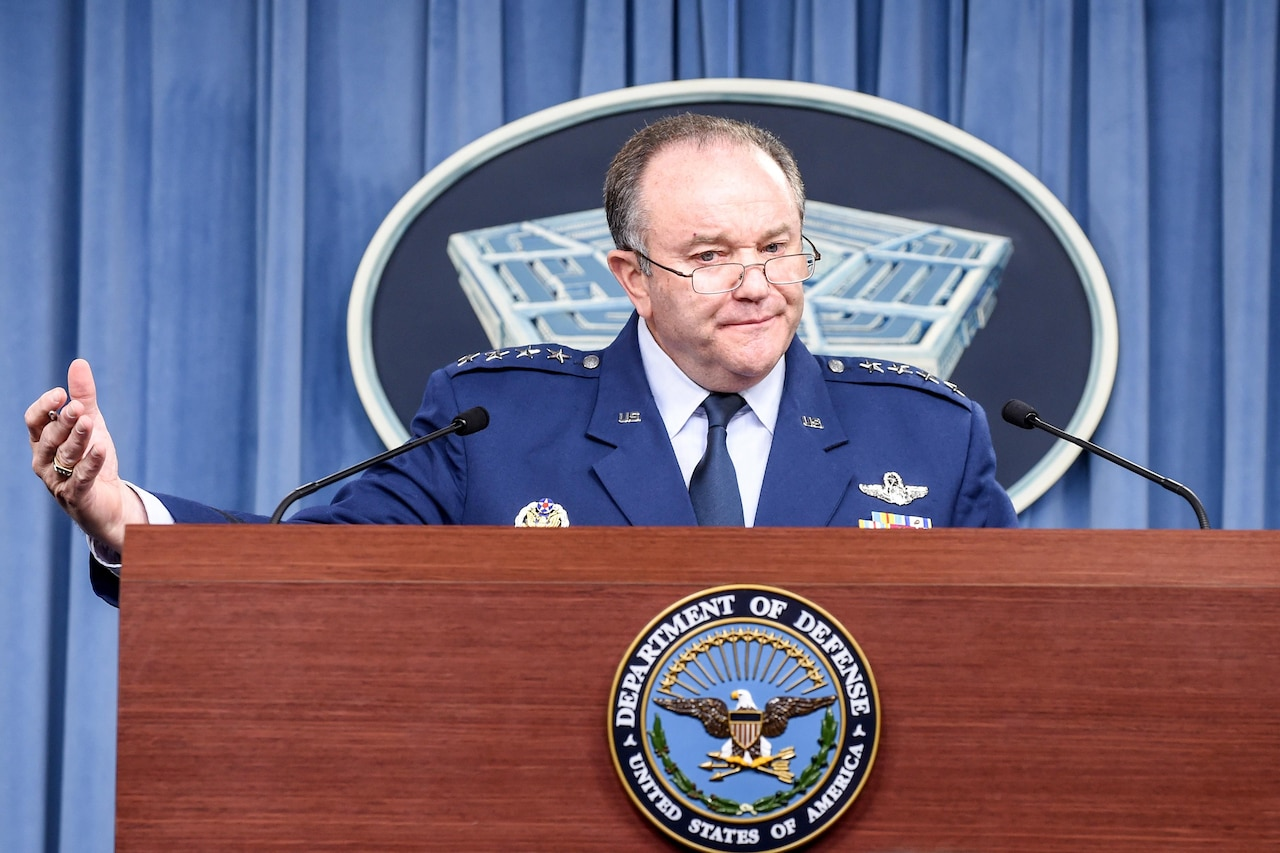 Air Force Gen. Philip M. Breedlove, commander of U.S. European Command, briefs reporters at the Pentagon March 1, 2016. DoD photo by Army Sgt. 1st Class Clydell Kinchen