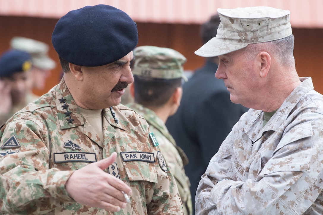Marine Corps Gen. Joseph F. Dunford Jr., right, chairman of the Joint Chiefs of Staff, talks with Pakistani Army Chief of Staff Gen. Raheel Sharif after a change-of-command ceremony in Kabul, Afghanistan, March 2, 2016. DoD photo by D. Myles Cullen