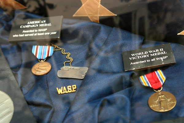 "Campaign medals received by the Women Airforce Service Pilots program are displayed during the opening of the ""Fly Girls of World War II"" exhibit at the Women in Military Service for America Memorial in Arlington, Va., Nov. 14, 2008. Army photo by Staff Sgt. Michael J. Carden"