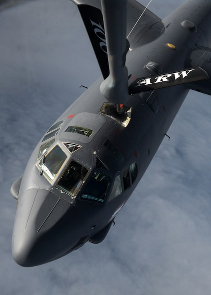 A U.S. Air Force B-52 Stratofortress from Barksdale Air Force Base, La., receives fuel from a KC-135 Stratotanker assigned to RAF Mildenhall, England, over the Trøndelag region of Norway, while participating in exercise Cold Response. The exercise will feature maritime, land, and air operations to underscore NATO's ability to defend against any threat in any environment. (U.S. Air Force photo by Senior Airman Victoria H. Taylor/Released)