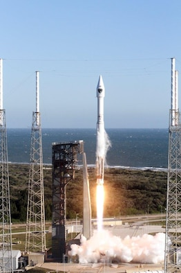 The final GPS IIF satellite is launched aboard an Atlas V rocket from Space Launch Complex 41 at Cape Canaveral Air Force Station, Fla., Feb. 5, 2016.  The mission ended a 27-year legacy of processing second generation GPS satellites for the 45th Space Wing. (Courtesy photo/United Launch Alliance)