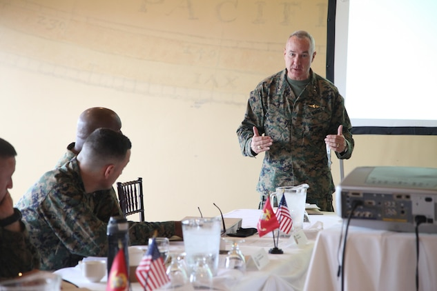 U.S. Marine Corps Maj. Gen. Charles L. Hudson, Commander, Marine Corps Installations Command, gives opening remarks for the Senior Leaders Seminar at the Pacific Views Event Center on Camp Pendleton, Calif., Feb 29, 2016. The Senior Leaders Seminar is a forum between the commander of Marine Corps Installations Command and his installation commanding generals (U.S. Marine Corps photo by Cpl. Tyler S. Dietrich, MCIWEST-MCB CamPen Combat Camera/Released).