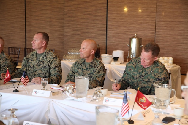 U.S. Marines with Marine Corps Installations West, attend a Senior Leaders Seminar at the Pacific Views Event Center on Camp Pendleton, Calif., Feb 29, 2016. The Senior Leaders Seminar is a forum between the commander of Marine Corps Installations Command and his installation commanding generals (U.S. Marine Corps photo by Cpl. Tyler S. Dietrich, MCIWEST-MCB CamPen Combat Camera/Released).