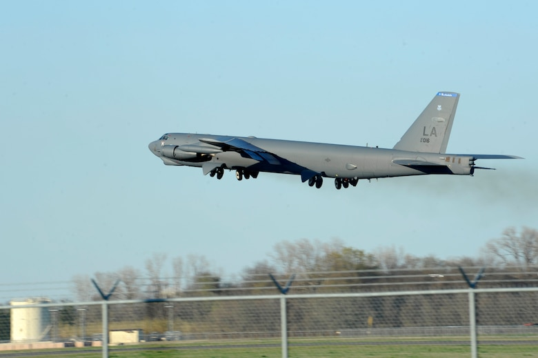 A B-52 Stratofortress takes off from Barksdale Air Force Base, La., Feb. 26, 2016, headed to Moron Air Base, Spain. During the short-term deployment, three of the multi-role heavy bombers and more than 200 Airmen assigned to the 2nd Bomb Wing will integrate and train with U.S. European Command components and regional partners by participating in Exercise Cold Response 16. U.S. Strategic Command and Air Force Global Strike Command routinely and visibly demonstrate U.S. commitment to allies, as well as global security, through joint and international training exercises such as these. (U.S. Air Force photo/Staff Sgt. Joseph A. Pagán Jr.)
