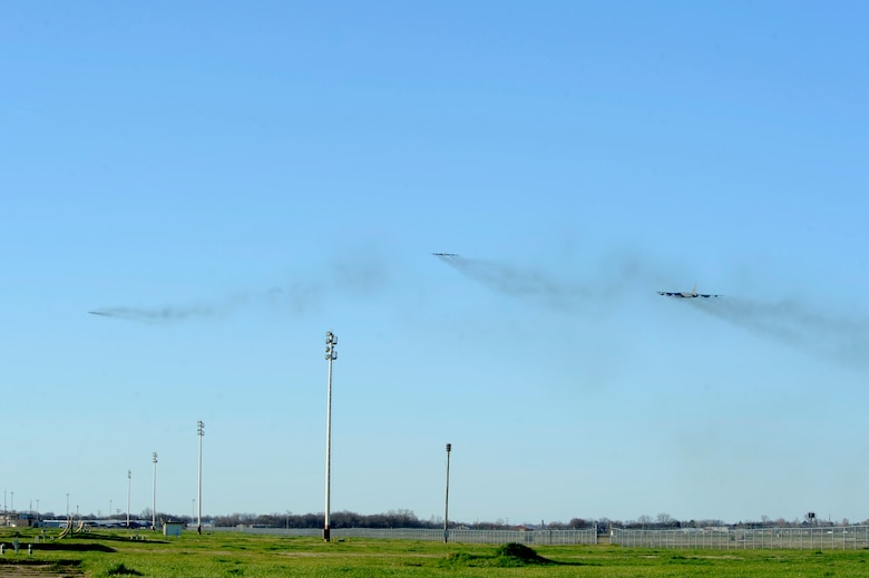Three B-52 Stratofortresses take off from Barksdale Air Force Base, La., Feb. 26, 2016, headed to Moron Air Base, Spain. During the short-term deployment, the multi-role heavy bombers and more than 200 Airmen assigned to the 2nd Bomb Wing will integrate and train with U.S. European Command components and regional partners by participating in Exercise Cold Response 16. U.S. Strategic Command and Air Force Global Strike Command routinely and visibly demonstrate U.S. commitment to allies, as well as global security, through joint and international training exercises such as these. (U.S. Air Force photo/Staff Sgt. Joseph A. Pagán Jr.)