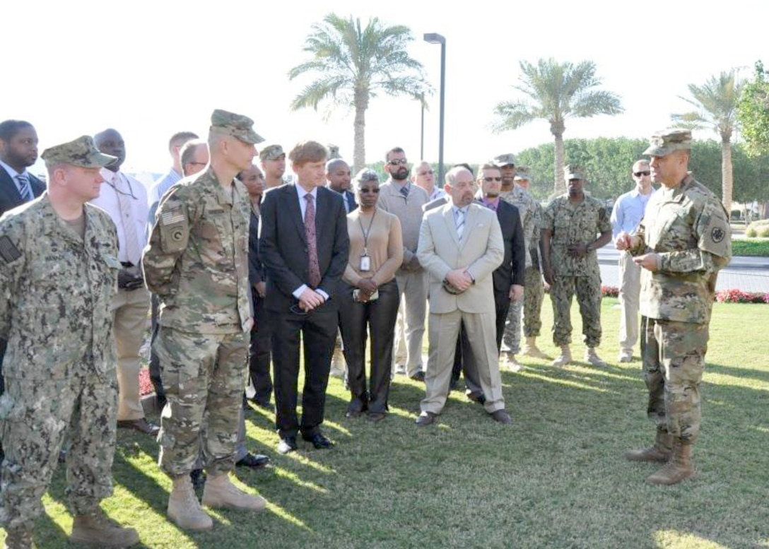DLA Senior Enlisted Leader, Army Command Sgt. Maj. Charles Tobin addresses DLA employees during his visit to the U.S. Central Command area of responsibility in Bahrain, Feb. 22.