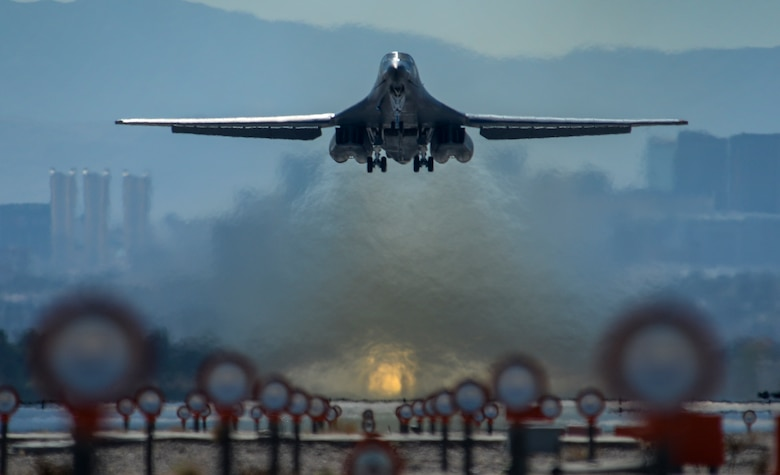 A B-1B Lancer assigned to the 28th Bomb Wing at Ellsworth Air Force Base, S.D., takes off on the first day of Red Flag 16-2 Feb. 29, 2016, at Nellis AFB, Nev. (U.S. Air Force photo/Airman First Class Keven Tanenbaum)