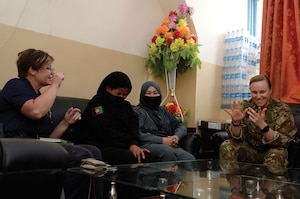 Women with the Afghan Border Police and members of the Train, Advise, and Assist Command - South