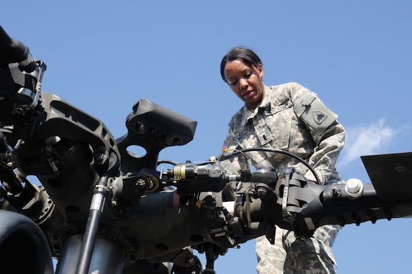 Army 1st Lt. Demetria N. Elosiebo, the first female African-American rotary wing pilot in the D.C. Army