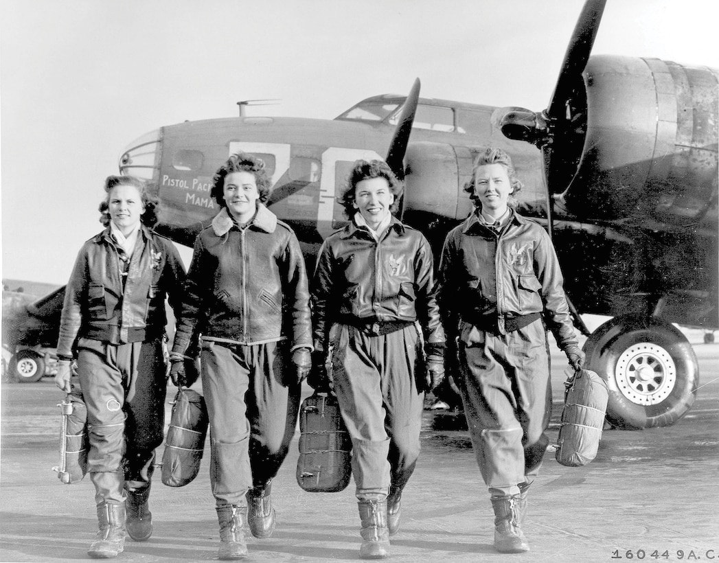 Frances Green, Margaret Kirchner, Ann Waldner, and Blanche Osborn. Members of the Women Airforce Service Pilots who trained to ferry the B-17 Flying Fortresses during WWII.