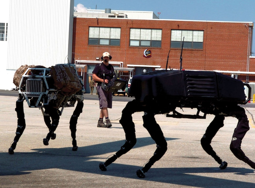 """Military robotics, such as """"Big Dog,"""" may level the playing field for women in combat."""