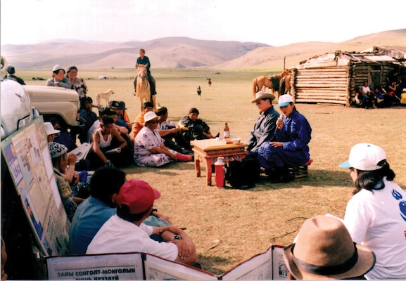 Campaign debate between Oyungerel from Democratic Party of Mongolia and Enkhtuvshin from Mongolian People's Revolutionary Party in Huvsgul province in 2008.