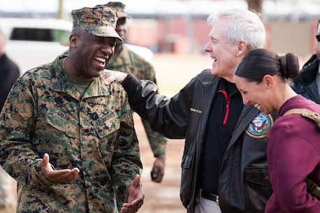 Secretary of the Navy Ray Mabus, center, speaks with Sgt. Maj. of the Marine Corps Ronald Green, left, and 1st Lt. Terri L. Piekosz, a series commander with November Company, 4th Recruit Training Battalion, March 3, 2016, on Parris Island, S.C. Mabus visited Marine Corps Recruit Depot Parris Island in order to see firsthand how young men and women from across the country are transformed into United States Marines. Recruit training was consolidated under Recruit Training Regiment in 1986, and since then, all those desiring to complete recruit training must follow the same training program of instruction, and must complete the same graduation requirements. (Photo by Staff Sgt. Greg Thomas)