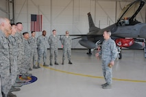 U.S. Air Force Gen. Hawk Carlisle, commander of Air Combat Command, speaks to 162nd Fighter Wing Alert Detachment Airmen during a base tour at Davis-Monthan Air Force Base, Ariz., March 3, 2016. The detachment is a National Guard Bureau program located at D-M AFB and supported through the 162nd FW. When mobilized, the Air National Guard and Air Force Reserve contribute more than 700 aircraft and 49,000 people to ACC. (U.S. Air Force photo by Airman 1st Class Ashley Steffen/ Released)