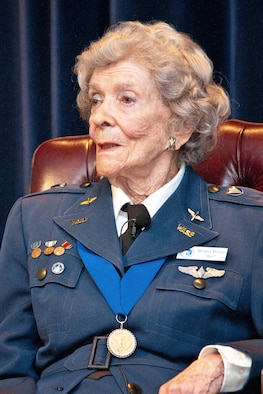 "Bernice ""Bee"" Haydu is interviewed June 5, 2014, at Maxwell Air Force Base, Ala. Haydu is a veteran pilot of World War II. She earned her wings with the Women Airforce Service Pilots, the first women to fly American military aircraft. She also helped lead the fight in Congress to recognize WASP members as veterans. (U.S. Air Force photo/Donna L. Burnett)"