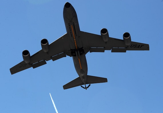 A KC-135 Stratotanker flies overhead during the start of Red Flag 16-2, at Nellis Air Force Base, Nev. The purpose of Red Flag is to provide advance, realistic and relevant training in a contested, degraded and operationally limited environment and tankers like the KC-135 help sustain the coalition forces in the air to complete the mission. (U.S. Air Force photo/Senior Airman David Bernal Del Agua)
