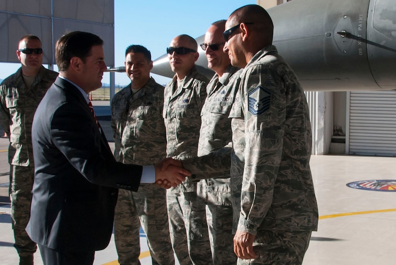 Arizona Gov. Doug Ducey greets Airmen at the Arizona Air National Guard's 162nd Aerospace Control Alert Detachment located at Davis-Monthan Air Force Base during his visit Feb. 29. The detachment team is ready 24 hours a day to deter, prevent, defeat threats aimed at our nation and when tasked provide assistance to civil authorities. (U.S. Air National Guard photo by 2nd Lt. Lacey Roberts)