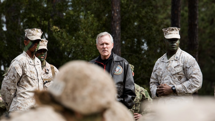 Secretary of the Navy Ray Mabus, center, speaks with Capt. Taylor Bates, left, commander of Oscar Company, 4th Recruit Training Battalion, and Capt. Larry Black Jr., commander of Delta Company, 1st Recruit Training Battalion, about the Crucible at Marine Corps Recruit Depot Parris Island, S.C., March 3, 2016. Parris Island is the only place in the Marine Corps where enlisted males and females undergo 70 training days to earn the title United States Marine. Today, approximately 19,000 recruits come to Parris Island annually for the chance to become United States Marines by enduring 13 weeks of rigorous, transformative training. Parris Island is home to entry-level enlisted training for approximately 50 percent of male recruits and 100 percent of female recruits in the Marine Corps.