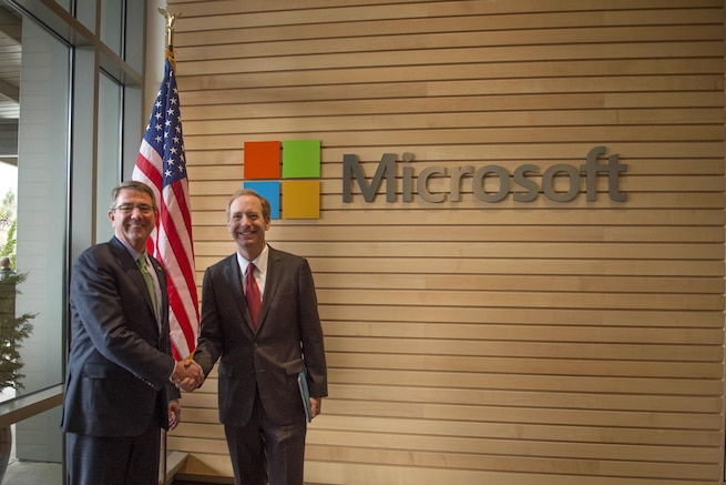 Defense Secretary Ash Carter, left, poses for a photograph with Microsoft President Brad Smith in Seattle, March 3, 2016. DoD photo by Navy Petty Officer 1st Class Tim D. Godbee