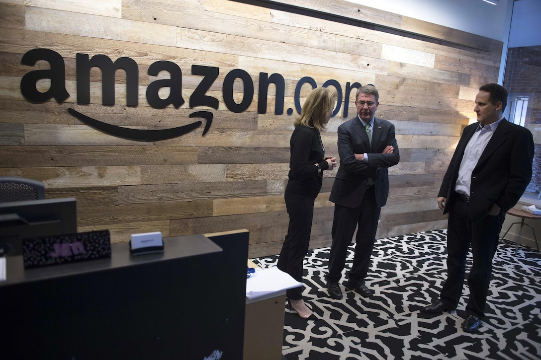 Defense Secretary Ash Carter, center, tours Amazon's headquarters in Seattle, March 3, 2016. DoD photo by Navy Petty Officer 1st Class Tim D. Godbee