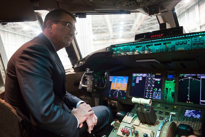 Defense Secretary Ash Carter tours a Boeing KC-46 aircraft at the Boeing facilities in Seattle, March 3, 2016. Carter is in Seattle to strengthen ties between the Department of Defense and the tech community DoD photo by Navy Petty Officer 1st Class Tim D. Godbee