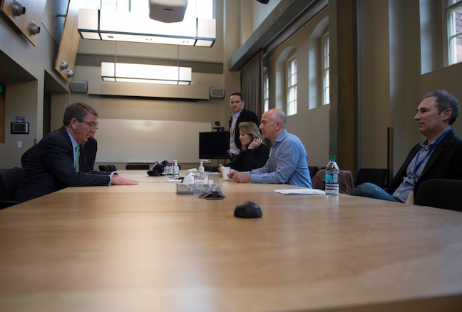 Defense Secretary Ash Carter, left, meets with Amazon CEO and founder Jeff Bezos in Seattle, March 3, 2016. DoD photo by Navy Petty Officer 1st Class Tim D. Godbee